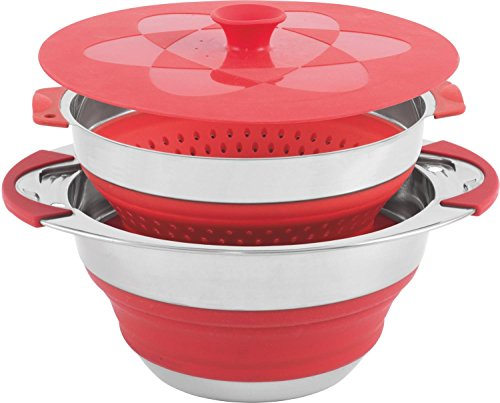 Relags Outwell und Sieb Collaps Topf, Rot, 4,5 l