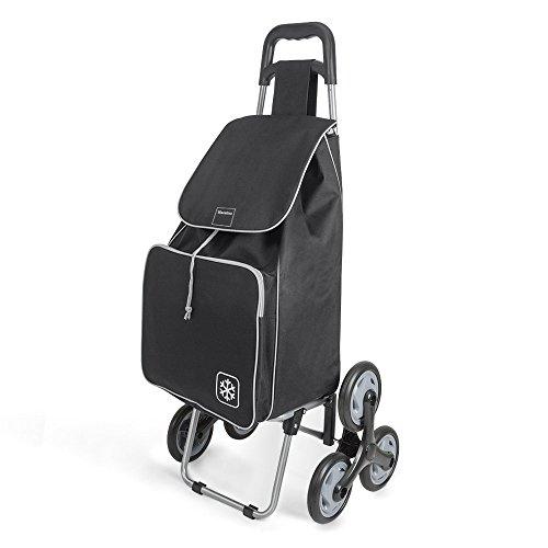 Metaltex Peony - Carro de Compra con 6 Ruedas, 48 Litros, Negro
