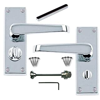Polished Chrome Victorian Straight Lever Privacy Door Handles 112mm x 40mm