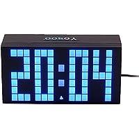 Yosoo 4 Dígitos Versión Digit Jumbo LED Snooze Pared Calendario de Escritorio Alarma Reloj Digital Electronic Time Block(Azul)