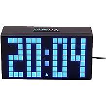 Yosoo 4 Dígitos Versión Digit Jumbo LED Snooze Pared Calendario de Escritorio Alarma Reloj Digital Electronic
