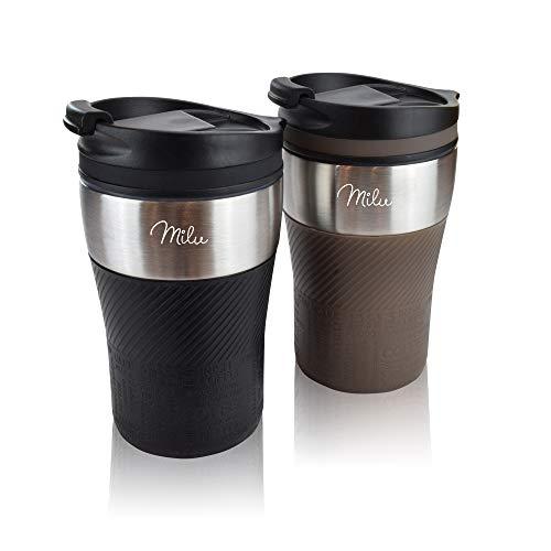 Milu Thermobecher Isolierbecher Kaffeebecher to go – 210ml 100% Auslaufsicher – Trinkbecher aus Edelstahl – Autobecher doppelwand Isolierung – Thermo Becher – Travel Mug