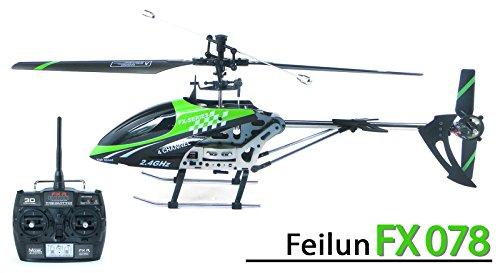 efaso FX078 - Helikopter Feilun - 2.4 GHz 4-Kanal Single-Rotor Hubschrauber mit Fernsteuerung in Aluminiumbauweise, RTF