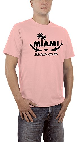 Touchlines Unisex/Herren T-Shirt Miami - Beach Club, pink, M, - Usa Halloween Metal-band