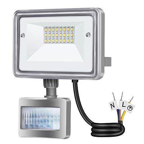 Gosun 10W Faro LED con sensore di movimento, 220V 950LM Bianco Caldo 3000K Lampada esterni, luci di sicurezza con PIR, impermeabile IP65 per casa, giardino, garage, moderno floodlight