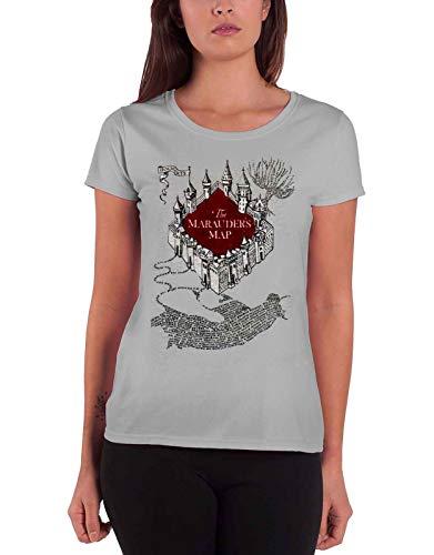 Harry Potter T Shirt Marauders Map Flock Print Logo Nue offiziell Damen Grau