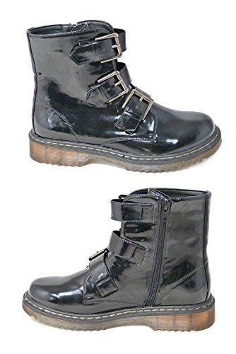 Bottines à lacets avec zip en cuir vernis pour femmes Style vintage, punk, combat Pointure 36-42 Black Patent (196004)