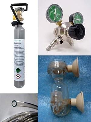 AquaFert Co2 Kit Complet avec Bouteille de 500 g, détendeur de Pression, réacteur et Tuyau