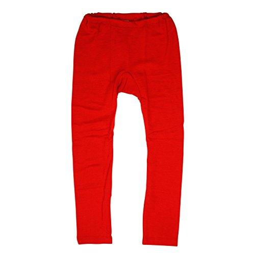 Leggings Cosilana pour enfant / caleçon long en laine vierge kbT et soie Wollbody -  Rouge -  128 cm