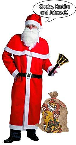 Idena 8580108 Weihnachtsmann Kostüm (Rot, mit Jutesack + Glocke)