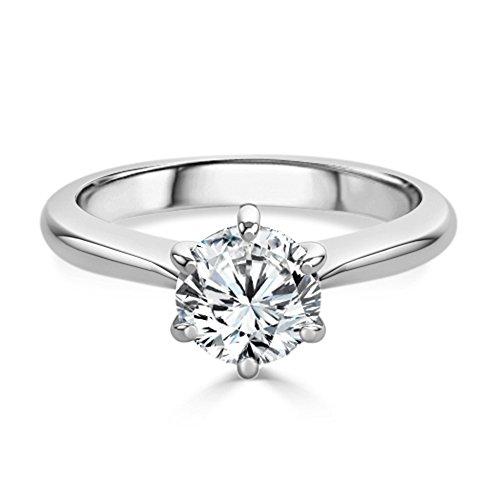 Moderner Runder Schnitt (2,00ct rund Moissanit Solitär Verlobung Diamant Ring Sterling Silber Weiß Gold Finish Größe M)
