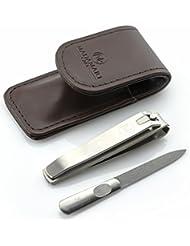 MADAMARI CARE Nagelpflege-Set in braunem Kunst-Lederetui - Hochwertiges Set aus robuster Feile und besonders präzisem Knipser