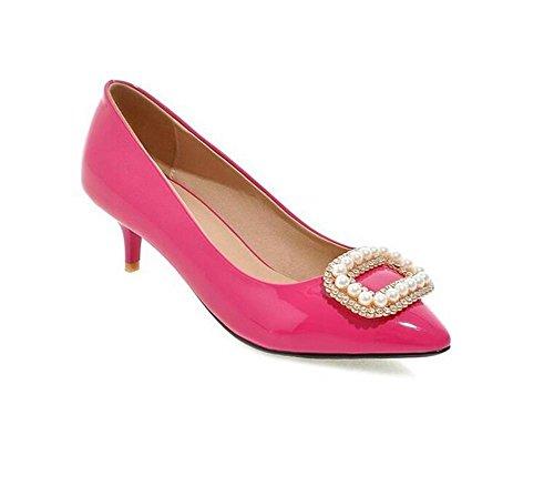 Metallo con tacco Court Wedding Shoes Perline bocca superficiale fiori Pietre primavera e autunno scarpe peach red