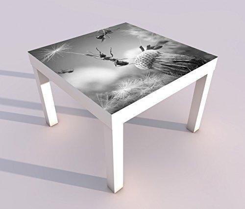 Design - Tisch mit UV Druck 55x55cm schwarz weiss Ameisen Fliegen Pusteblume Insekten Blume Spieltisch Lack Tische Bild Bilder Kinderzimmer Möbel 18A2735, Tisch 1:55x55cm