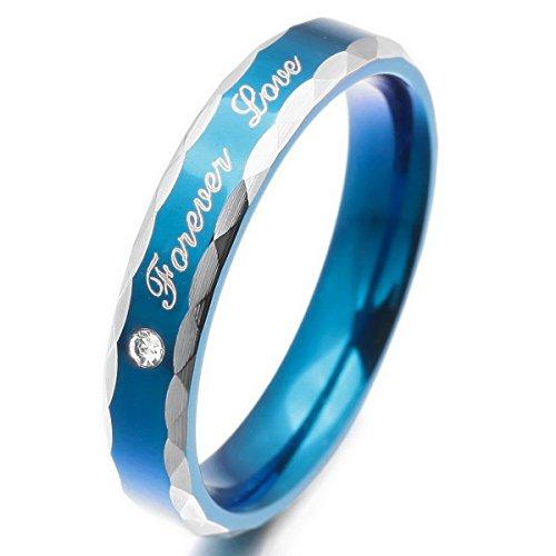 MunkiMix Acier Inoxydable Bague Anneau Bague Zircon CZ Oxyde de Zirconium Ton d'Argent Bleu Valentin Amour Couple Amour Amoureux Promesse Engagement Fiançailles Mariage Taille 54 Femme