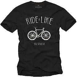 Ride It Like You Stole It - Camiseta bicicleta negra hombre con mensaje divertida L