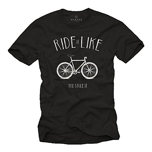 Ride It Like You Stole It - Camiseta Bicicleta Negra Hombre con Mensaje Divertida M