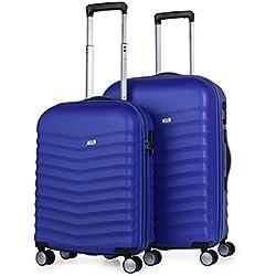 JASLEN - 52615 Juego Set 2 Maletas Trolley 50/60 cm ABS. Rígidas, Resistentes y Ligeras. Mango telescópico, 4 Ruedas Dobles. Candado Integrado. Pequeña Low Cost, Color Azulon