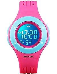 Relojes Digitales para niños y niñas, 50 m, Resistente al Agua, con Alarma, cronómetro, Reloj de Pulsera de Clase…