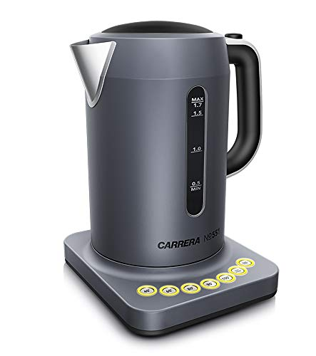 CARRERA Wasserkocher No 551 | für Tee und Babynahrung | Edelstahl Gehäuse | digitale Temperatureinstellung | Warmhaltefunktion | 1,7 Liter 2.200 W