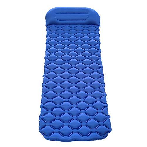LINGJIE Aufblasbare Matratze Feuchtigkeitsbeständiges Außenzelt Isomatte Ultraleichtes Aufblasbares Kissen Tragbares Luftbett Camping Verdickungsmatte,DarkBlue - Plüsch-top-matratze