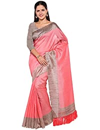 Rajnandini Women's Tussar Silk Plain Saree(JOPLNB3006F_Baby Pink_Free Size)