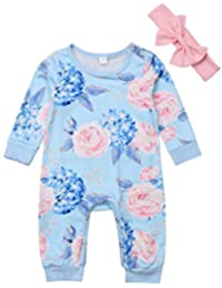 4ba42cffb 0-2Years,Zimuuy Toddler Kids Baby Girl Cotton Floral Romper Jumpsuit Bow  Hairband Clothes