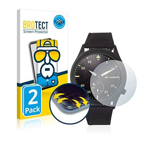 BROTECT Full Cover Schutzfolie für Runtastic Moment Elite [2er Pack] - Full Screen Bildschirmschutz, 3D Curved, Kristall-Klar