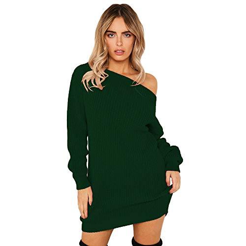 Damen Elegant Kleid Reizvoller Schulterfrei Langarm Pulloverkleid Kurz Minikleid Einfarbig...