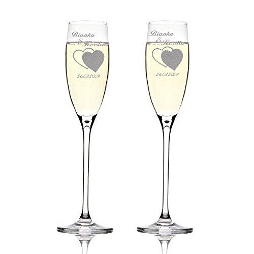 Deux flûtes LEONARDO Cheers Gravure motif : Deux coeurs INEINANDER