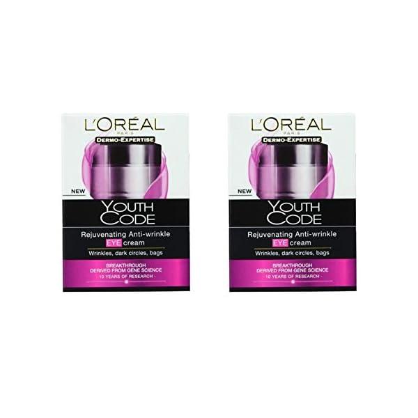 L'Oréal Paris Youth Code – Crema antiarrugas para contorno de ojos (2 unidades)