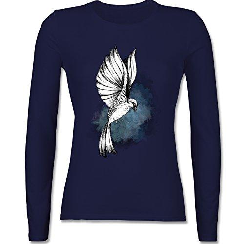 Vögel - Vogel Aquarelle Zeichnung - tailliertes Longsleeve / langärmeliges T-Shirt für Damen Navy Blau