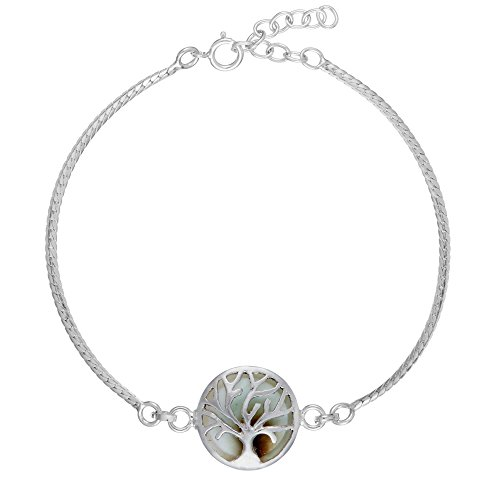 81stgeneration Frauen .925 Sterling Silber Baum des Lebens Shiva Auge Armband, 17 + 2 cm Extender