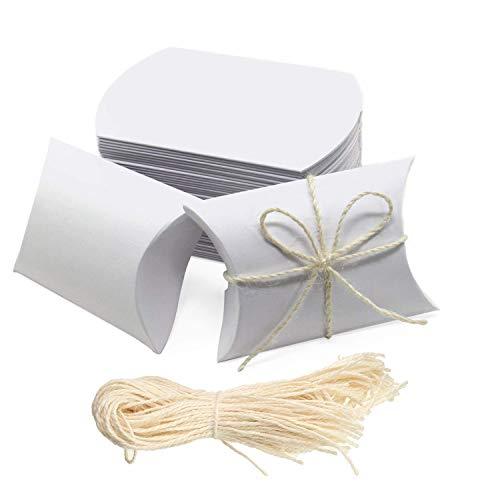 Lazeny 50x Vintage Kissen Box Geschenkbox Favor Box Rustikal Kraftpapier Gastgeschenk Süßigkeiten Box Bonboniere Box für Hochzeit Geburtstag Babyparty Taufe Kinder Party Weihnachten Tischdeko-Weiß