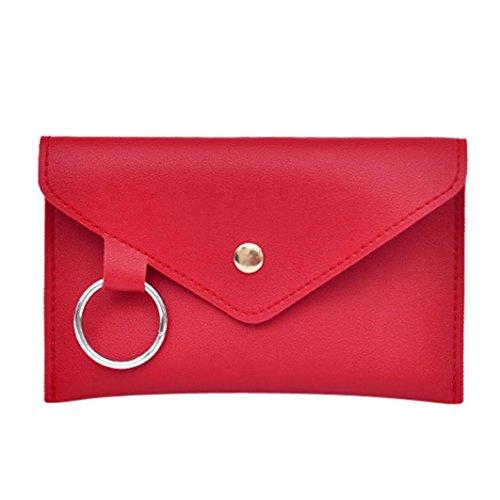 Trada Damen Tasche, Mode Frauen Reine Farbe Ring Leder Messenger Schultertasche Brusttasche Chest Bag Schultertaschen Brusttasche Messenger Bag Chic Umhängetasche (Rot)