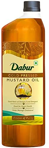 Dabur Cold Pressed Mustard Oil -1L : Healthy Cooking Oil with the Goodness of Omega 3 &am