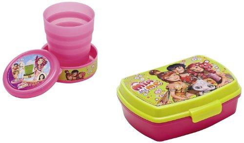 Joy toy 118145-118146 - mia and me set: bicchiere ripiegabile 240 ml con portamerenda