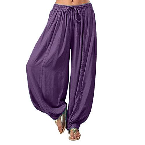 Lazzboy Frauen Plus Größe Einfarbig Beiläufige Lose Pluderhosen Yoga Hosen Frauen Hosen Damen Leinenhose Größe Sommerhose Tunnelbund Mit Gummizug(Lila,3XL)