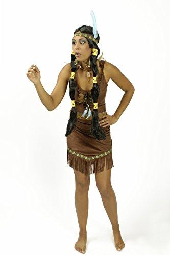 Indianerinkleid Kleid in braun mit Gürtel und Stirnband für Indianer Kostüm (40-42) (Baby Indianer Kostüm)
