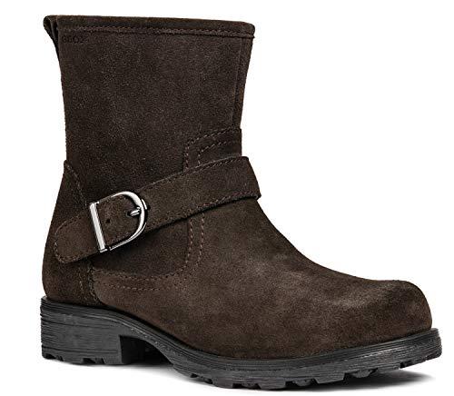 Geox J84A5B Olivia Stivali Modischer Mädchen Leder Stiefel, Biker Boot, Reißverschluss, Warm gefüttert, Atmungsaktiv Braun (DK Coffee), EU 34