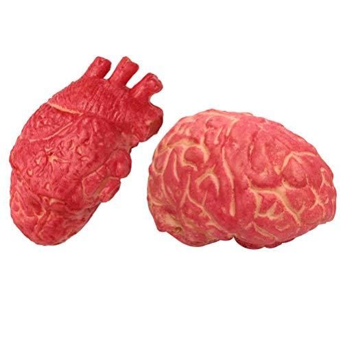 (YeahiBaby Halloween Herz Gehirn Harror Organen Blutige Körperteile für Halloween Spukhaus Party Prop Deko 2 Stücke)