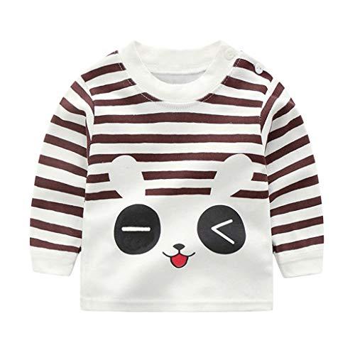 MRULIC Baby Kinder Tops Baumwolle Schöne Cartoon Tier Gedruckt Langarm Unisex T-Shirt Tops Pullover Button Shirt Bluse Jumper 0-3 Jahre(Mehrfarbig,0-3 Monate)