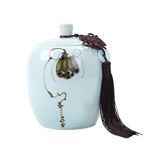 MYXMY Keramik große Seladon versiegelt Lagertank Tee Handbemalte Lotus - für Asche Lagerung für Haustiere und Menschen -
