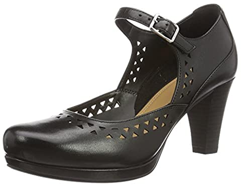 Clarks Chorus Chime, Women's Ankle Strap Pumps, Black (Black Leather), 6 UK (39.5 EU)