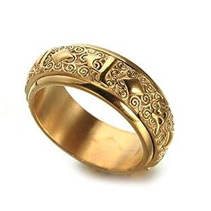 Amody 8MM Edelstahl Ring für Männer Drehring Om Mani Padme Hum Gold/Silber/Silber Gold Partnerringe Punk Ring Männer