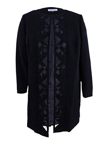 Tahari ASL Women's Plus Size Laser-Cut Topper Jacket (18W, Black)