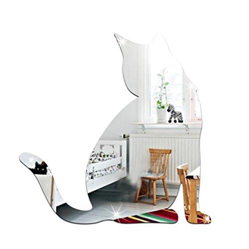Ouneed® Wandaufkleber Wandtattoo Wandsticker , Nette Katze Art und Weise DIY 3D Spiegel Bling Bling Wand Aufkleber große Ausgangsdekor Art (Silber)