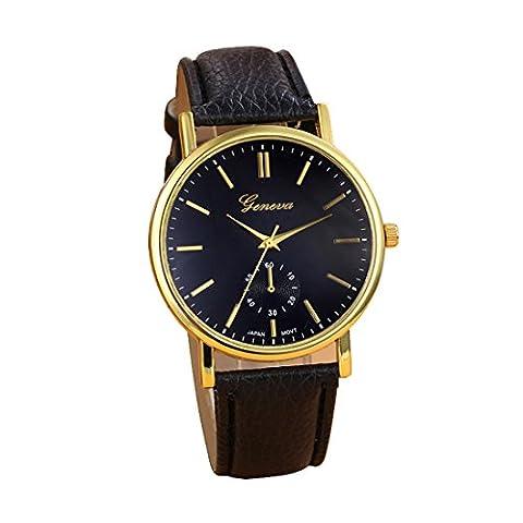 Internet Neue Genfer Unisex Leder Band Analog Quarz Vogue Armbanduhr Uhren