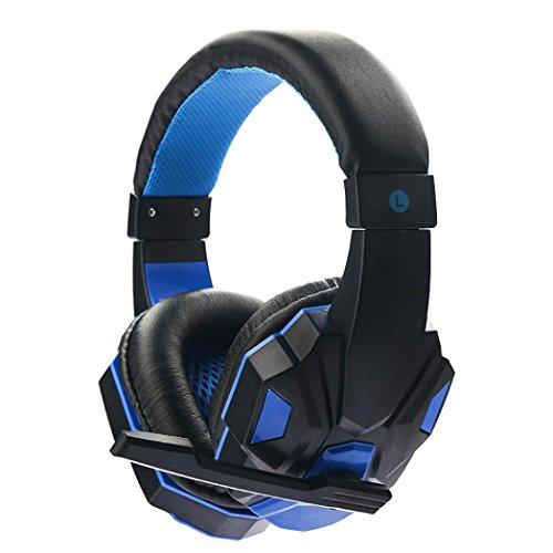 huge discount 1ee63 827a4 Yjydada Surround stereo Gaming Headset fascia 3.5 mm cuffie con microfono  per PC blu Scarpette a