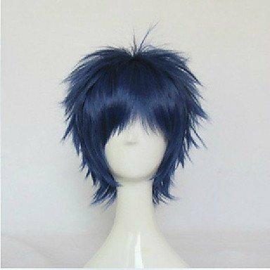 HJL-droites courtes perruques parti perruques animation de bleu perruque cosplay perruques de cheveux synth¨¦tiques homme , blue
